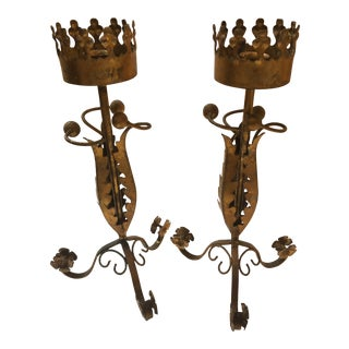 Italian Gilded Tole Candlesticks - a Pair For Sale
