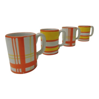 Vintage Italian Orange and White Ceramic Mugs -Set of Four For Sale