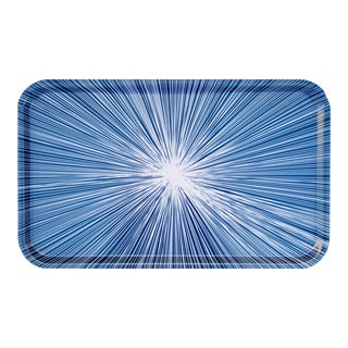 Shadow Lines Birchwood Rectangular Tray in Navy + White For Sale