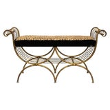 Image of Mid Century Modern Italian Bench in Gilt Iron & Faux Leopard Leather Seat For Sale