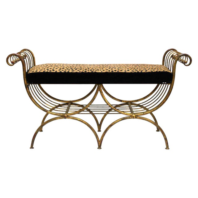 Mid Century Modern Italian Bench in Gilt Iron & Faux Leopard Leather Seat For Sale