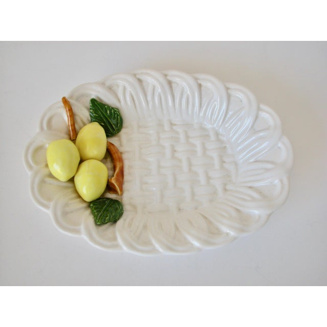 Traditional 1970s Traditional Majolica Braided Lemon Ceramic Dish For Sale - Image 3 of 10