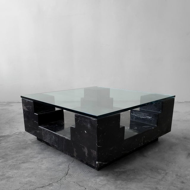 Architectural Square Black Italian Marble And Glass Coffee Table Chairish