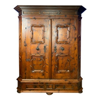 Early 18th Century (Ca 1710) Austrian Baroque Two Door Pine Armoire For Sale