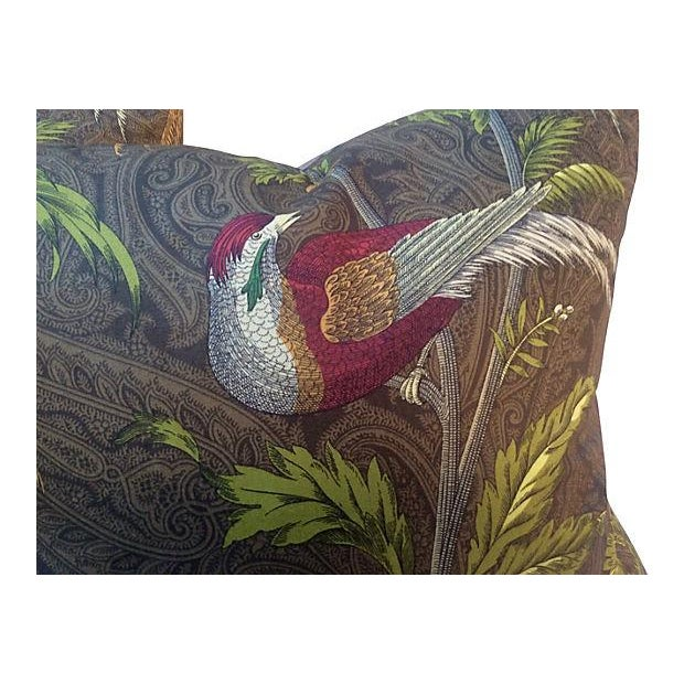 Pair of custom pillows made with an English paisley fabric featuring pheasants. Silk-blend backing with zipper closures....