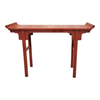 Chinese Ming Style Red Lacquered Altar Table For Sale