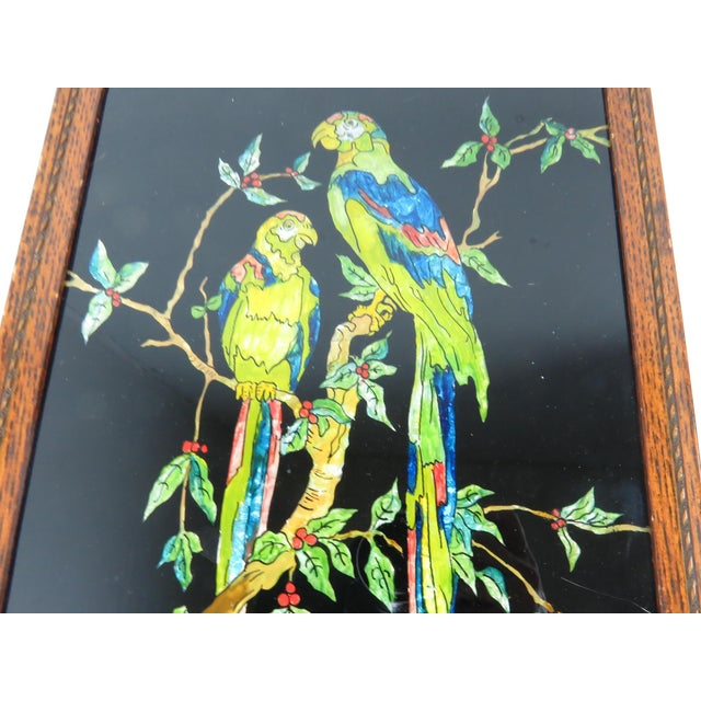 Antique Americana Folk Art Tinsel Painting of Tropical Birds For Sale - Image 4 of 9