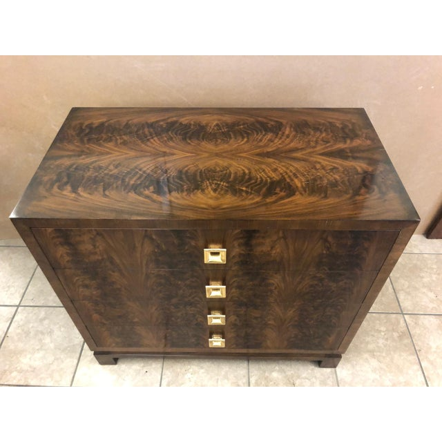 Pair of Flame Mahogany Antique Style Chests For Sale - Image 4 of 7