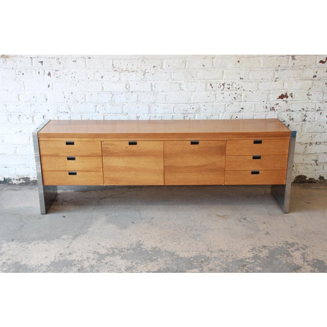 Roger Sprunger for Dunbar Mahogany and Chrome Executive Credenza For Sale - Image 5 of 11