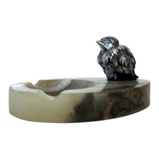 Antique Onyx Ashtray With Sterling Silver Bird For Sale