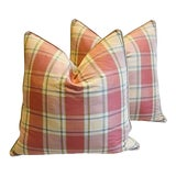 """Image of Brunschwig & Fils Plaid Silk Feather/Down Pillows 24"""" Square - Pair For Sale"""
