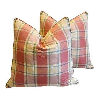 "Brunschwig & Fils Plaid Silk Feather/Down Pillows 24"" Square - Pair For Sale"