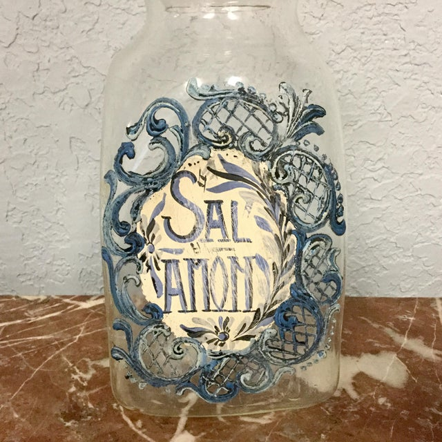 Rare and vintage Italian hand blown glass drug jar. The front hand painted with a flowing border with the words SAL AMON...