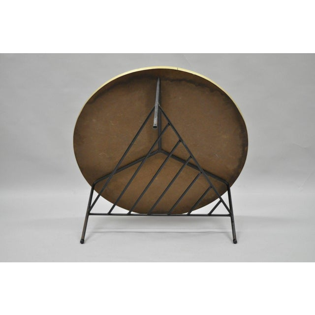 1950s Mid-Century Modern Paul McCobb Style Wrought Iron Tripod Coffee Table For Sale - Image 10 of 13