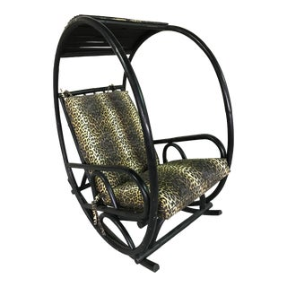 Mid 20th Century Circle Bamboo Rattan Rocker Lounge Chair Attributed to Franco Bettonica For Sale