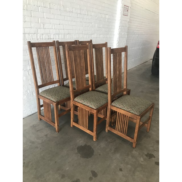 This is a beautiful set of 6 Stickley Furniture Mission or Arts and Crafts oak dining room side chairs. Each seat cushion...