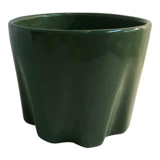 Vintage Mid Century Dark Green Planter For Sale