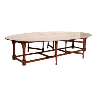 Extra Long 12' Antique Gateleg Table English Drop Leaf Wake Table For Sale
