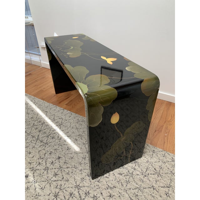 Black Final Markdown 1970s Asian Modern Lacquered Lily Pad and Lotus Leaf Waterfall Console Table For Sale - Image 8 of 12