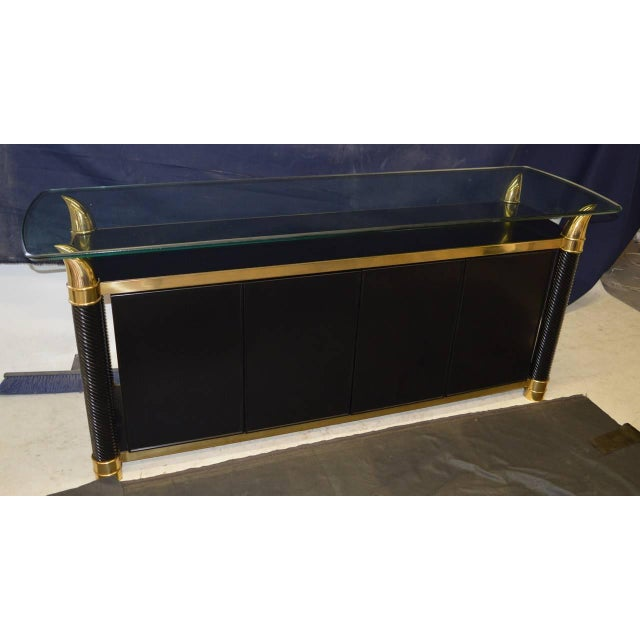 Black Lacquer Hollywood Regency Cabinet by Weiman - Image 3 of 6