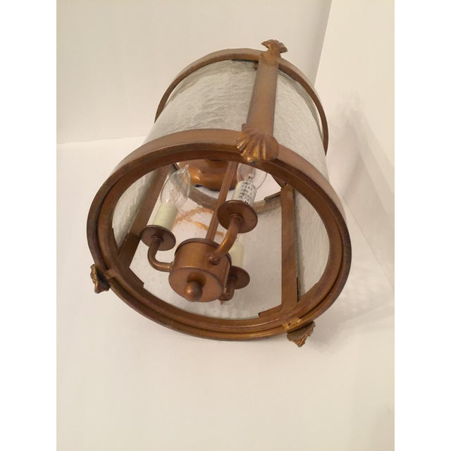 Vintage Seeded Glass 3 Light Carriage Lantern For Sale - Image 6 of 12