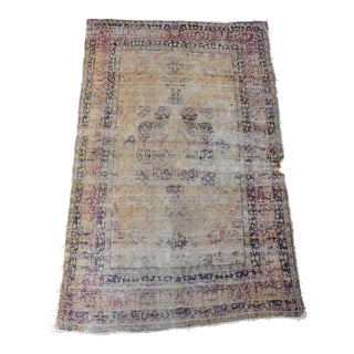 "Heavily Distressed Antique Persian Carpet - 4'2"" X 6'7"" For Sale"