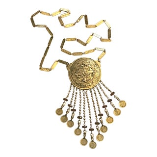 Vintage Accessocraft Medallion Dangle Egyptian Revival Statement Necklace For Sale