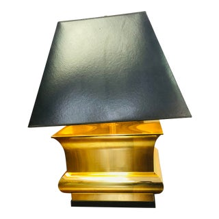 Frederick Cooper Mid-Century Modern Brass Lamp with Black Shade For Sale