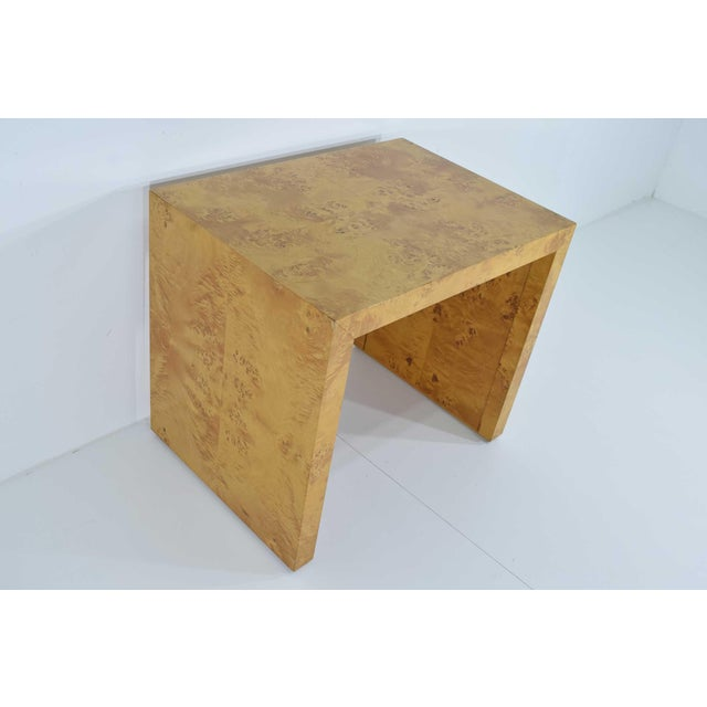 1970s Milo Baughman Burl Wood Side Table For Sale - Image 10 of 12