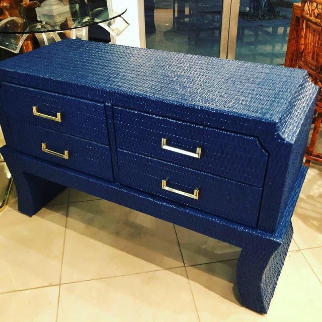 1970s Vintage Blue Lacquered Wicker Brass Credenza Chest Console Table For Sale - Image 5 of 13