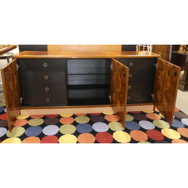 Mid-Century Modern Vintage Roche Bobois Lacquered Burl Wood Credenza For Sale - Image 3 of 12