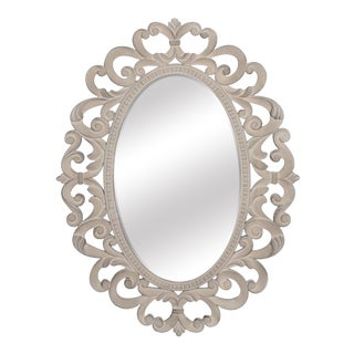 Franchesca French Country Stone Oval Wall Mirror For Sale