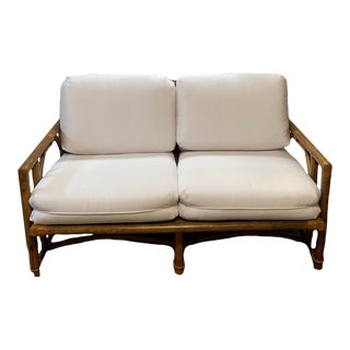 Vintage Ficks Reed Mid Century Modern Bamboo Rattan White Settee For Sale