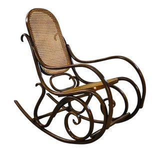 Thonet Style Beechwood & Cane Rocking Chair For Sale