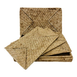 Vintage Woven Grass Place Mats & Holder For Sale