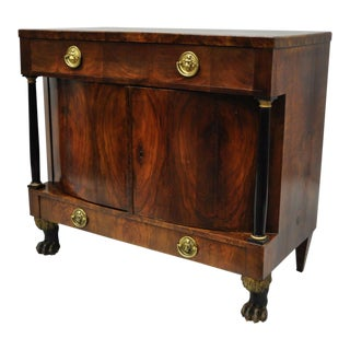 19th Century Empire Mahogany Lion Claw Foot Server Cabinet For Sale