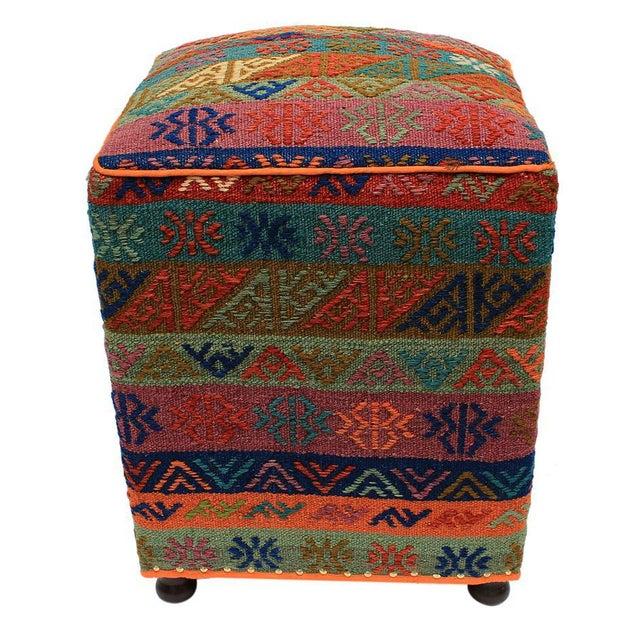 2010s Boho Chic Hahn Orange/Green Handmade Soumakh Upholstered Ottoman For Sale - Image 5 of 8