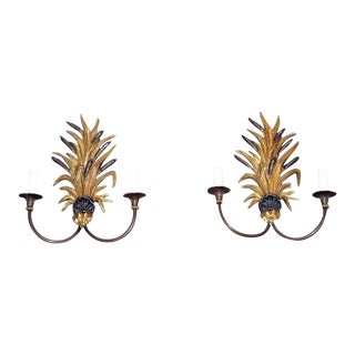 Pair of French Bronze Sconces For Sale
