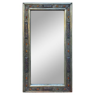 Rectangular Moroccan Metal Inlaid Mirror, 104lm24 For Sale