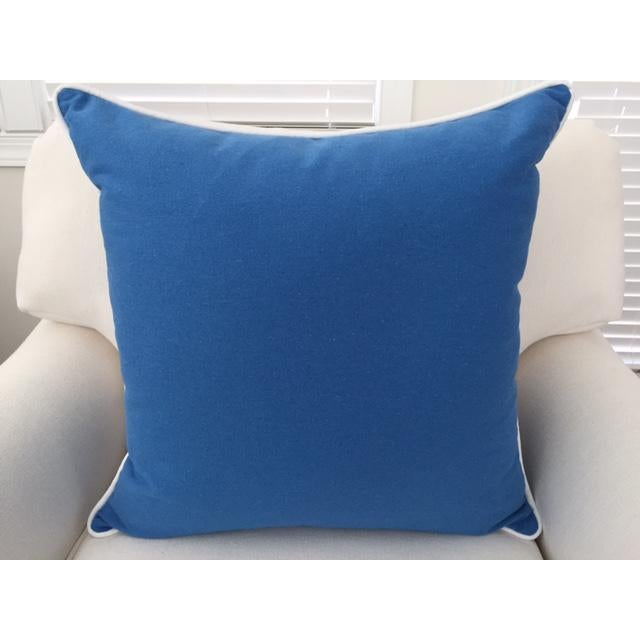 """Paradise Collection Blue Pillow Cover . With Zipper . White Contrast Welt . 22"""" X 22"""" - Image 4 of 8"""