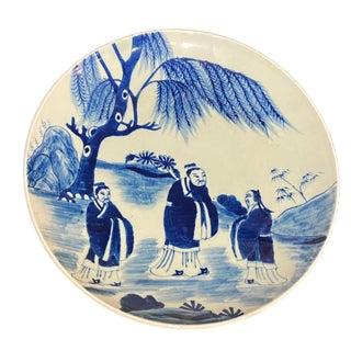 """Vtg Chinoiserie Blue & White Decorative Porcelain Plate W/Confucius 9.75"""" D For Sale"""