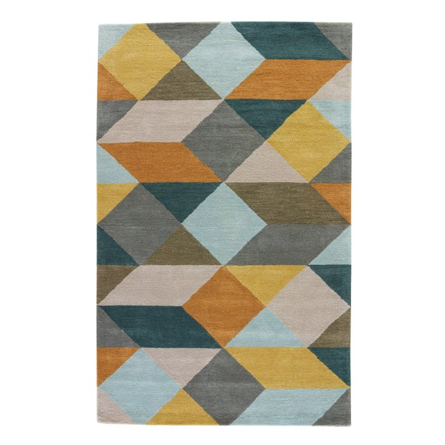Luli Sanchez by Jaipur Living Ojo Handmade Geometric Gold Teal Area Rug 5'X8' For Sale In Atlanta - Image 6 of 6