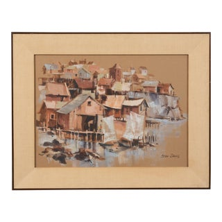 Oceanfront Townscape Painting by Stan Davis For Sale