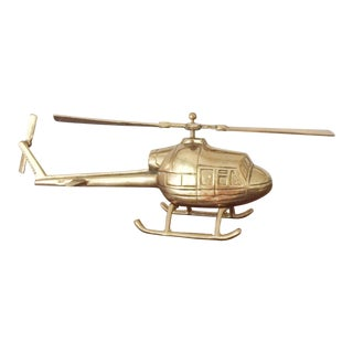 Solid Brass Helicopter With Moving Propellers For Sale