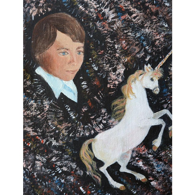 Here's a super cute vintage painting of a boy and a unicorn. Subject matter might be up to personal interpretation here...