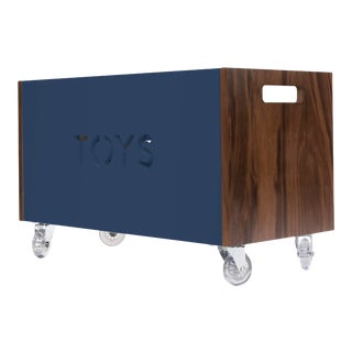 Toy Box Chest on Casters in Walnut With Deep Blue Finish For Sale