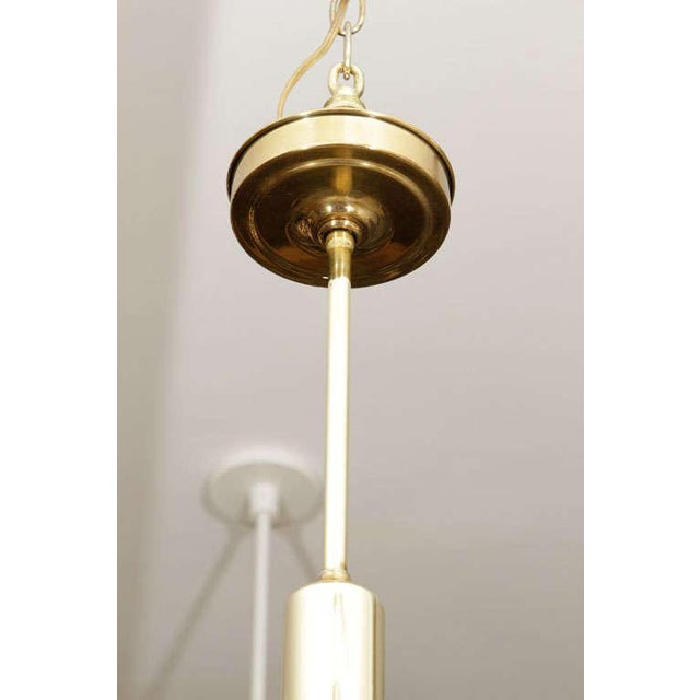 Mid-Century Modern Brass and Glass Pendant Lights - A Pair For Sale - Image 3 of 9
