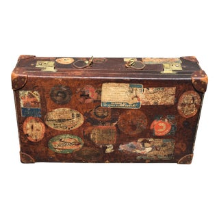 Mid 20th Century Peal & Co. For Brooks Brothers Decorative Leather Trunk with Travel Stickers For Sale