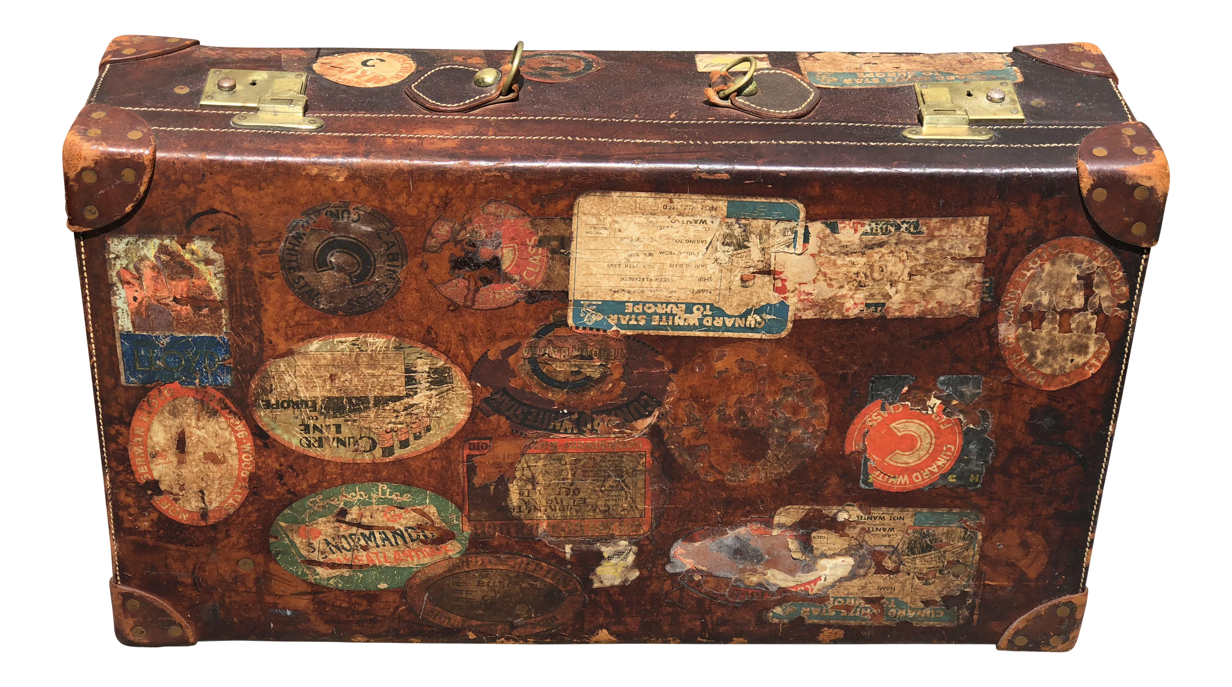 For Brooks Brothers Decorative Leather Trunk With Travel Stickers