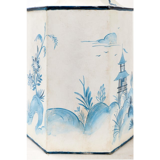 Mid 20th Century Vintage Hexagonal Blue & White Tole Tea Caddy #2 For Sale - Image 9 of 10